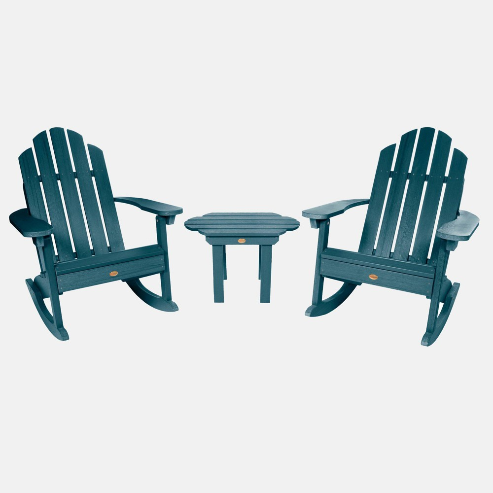 Image of 3pc Classic Westport Adirondack Rocking Chair Patio Set Nantucket Blue - highwood