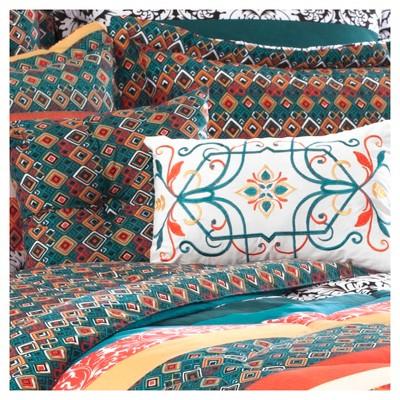 Turquoise & Tangerine Boho Stripe Comforter Set (Full/ Queen)7pc - Lush Decor®