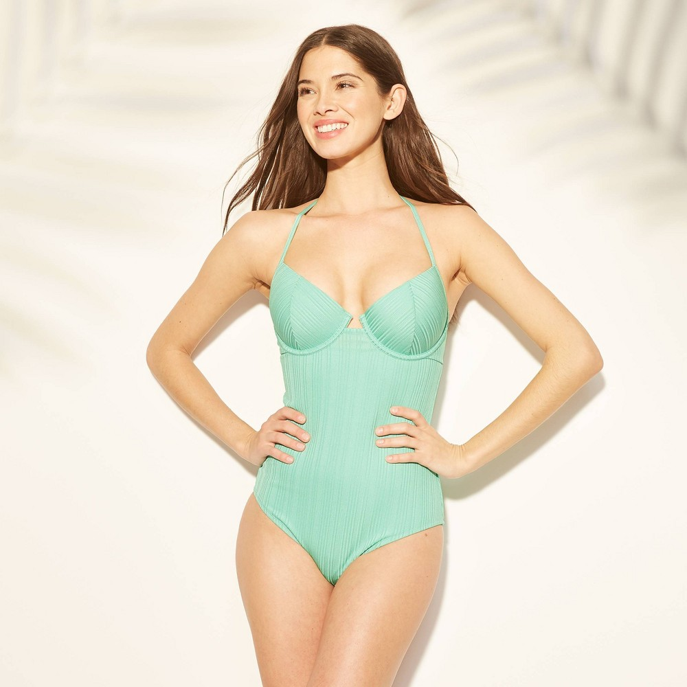 5fa6d88e05b Womens Cabana Light Lift Ribbed Texture One Piece Swimsuit Shade Shore  Spearmint Green 32C