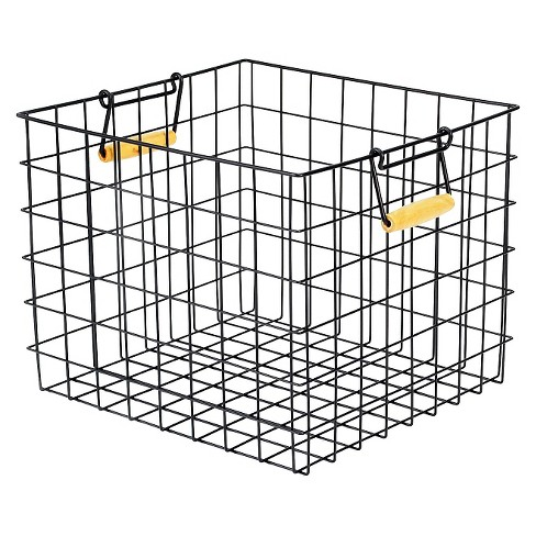 Large Metal Milk Crate with Wooden Handles - Black - Room Essentials™ - image 1 of 2