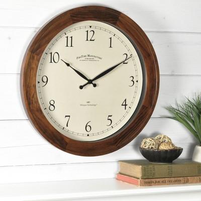 """Garrison 16"""" Round Wall Clock Walnut - FirsTime"""