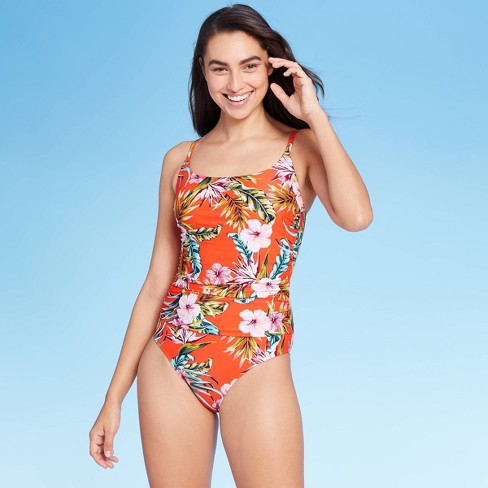 Women's Shirred Front High Coverage One Piece Swimsuit - Kona Sol™ Orange Floral - image 1 of 4