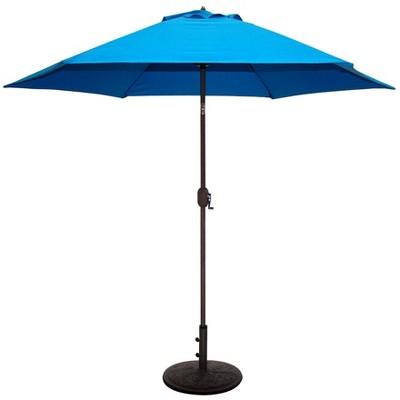 9' x 5' Aluminum Bronze Umbrella Blue - Tropishade