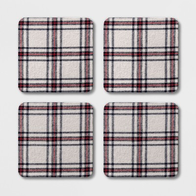 4  4pk Square Cotton Plaid Coasters - Threshold™