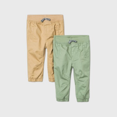 Baby Boys' 2pk Woven Chino Pants - Cat & Jack™ Green/Khaki 0-3M