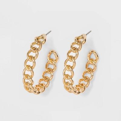 Frozen Chain Hoop Earrings - A New Day™ Gold