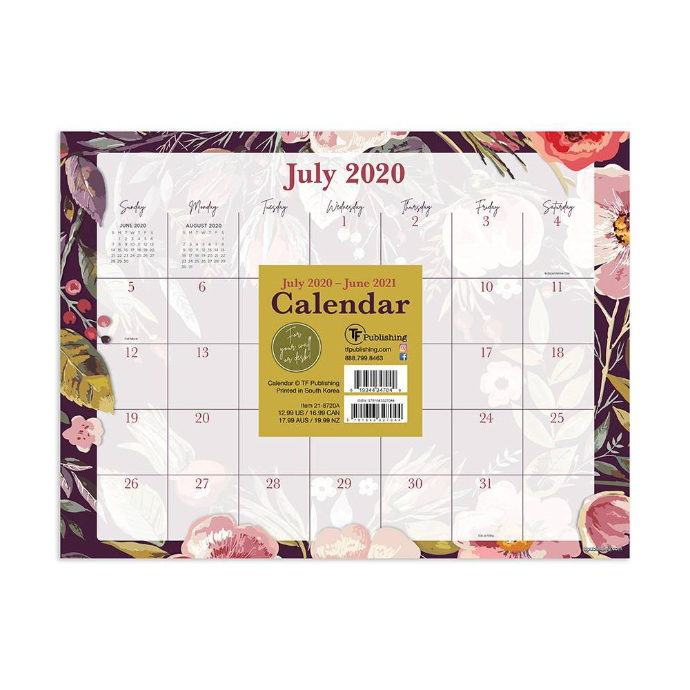 "Image of ""2020-21 Academic Desktop Calendar Foliage and Flowers Mini 9"""" x 12"""" - TF Publishing"""