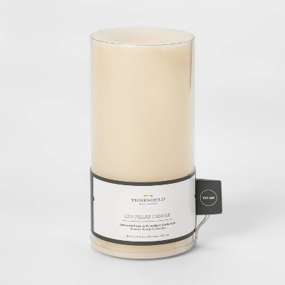"8"" x 4"" LED Flameless Black Wick Candle Cream - Threshold™"
