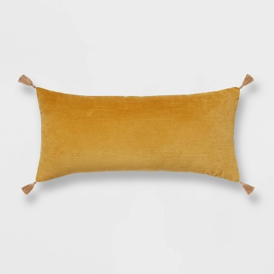 "12""x24"" Oversized Velvet Lumbar Throw Pillow Yellow - Threshold™"