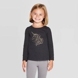 Toddler Girls' Long Sleeve 'Unicorn' T-Shirt - Cat & Jack™ Black