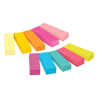 """Post-it 10pk 1/2"""" x 2"""" Page Markers Assorted Bright Colors 50 Markers/pk"""