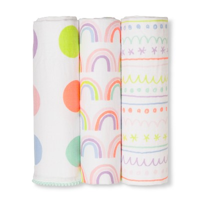Muslin Swaddle Blankets Happy Hues 3pk - Cloud Island™ Pink