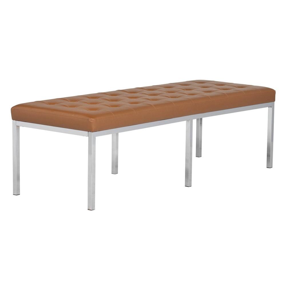 "Image of ""60"""" Lintel Tufted Bonded Leather Bench Caramel - Studio Designs Home"""
