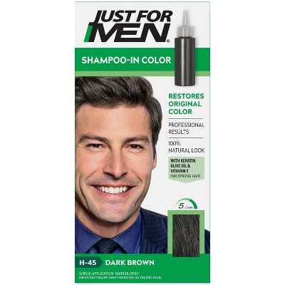 Just For Men Shampoo-In Color Gray Hair Coloring for Men - Dark Brown - H-45