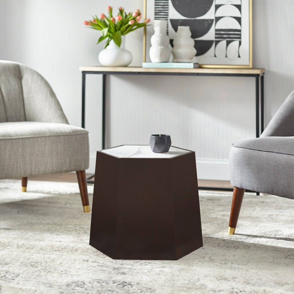 Image of Wallace Hexagonal Side Table Walnut - angelo : Home