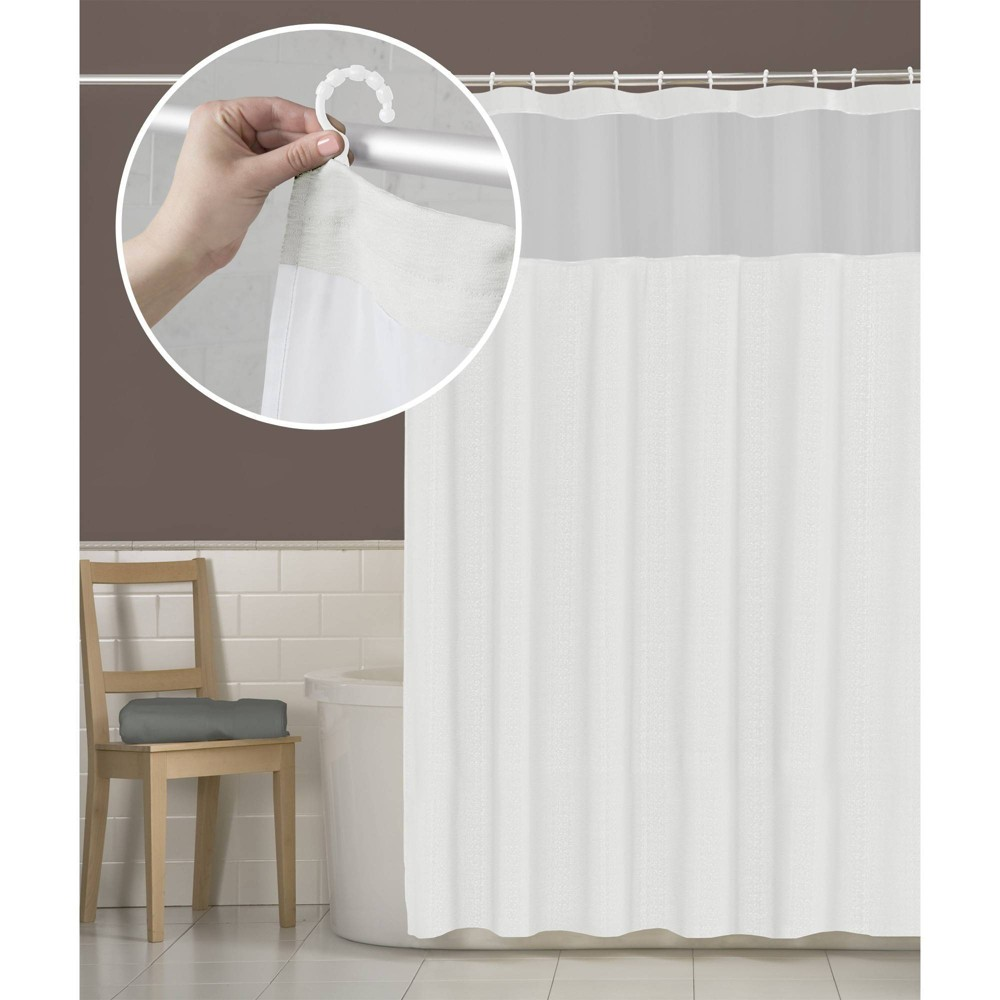 Smart Shower Curtains Hendrix View Fabric With Attached Hooks White - Zenna Home Top