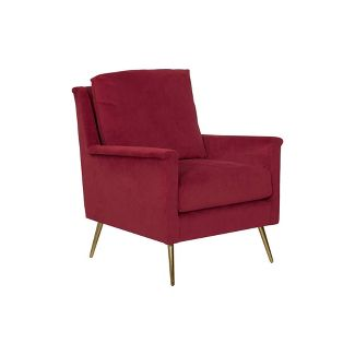 Modern Armchair Textured Ruby Velvet - HomePop