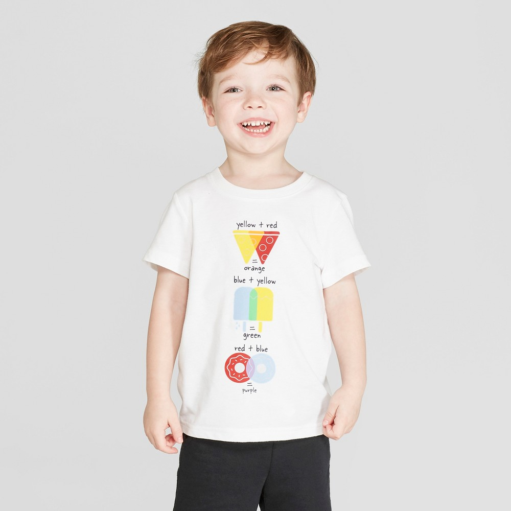 Toddler Boys' Short Sleeve Color Theory T-Shirt - Cat & Jack White 18M