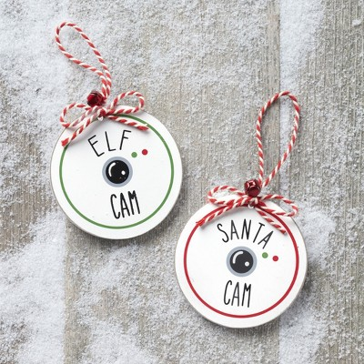 Lakeside Santa Cam and Elf Cam Christmas Tree Ornaments - Set of 2