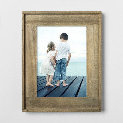 5 X7  Raised Edge Plank Wood Frame Brown - Threshold™