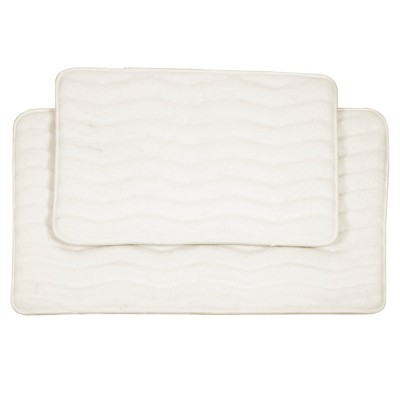 Wave Bath Mat 2pc Off-White - Yorkshire Home