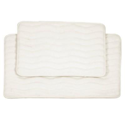 2pc Wave Bath Mat Off White - Yorkshire Home
