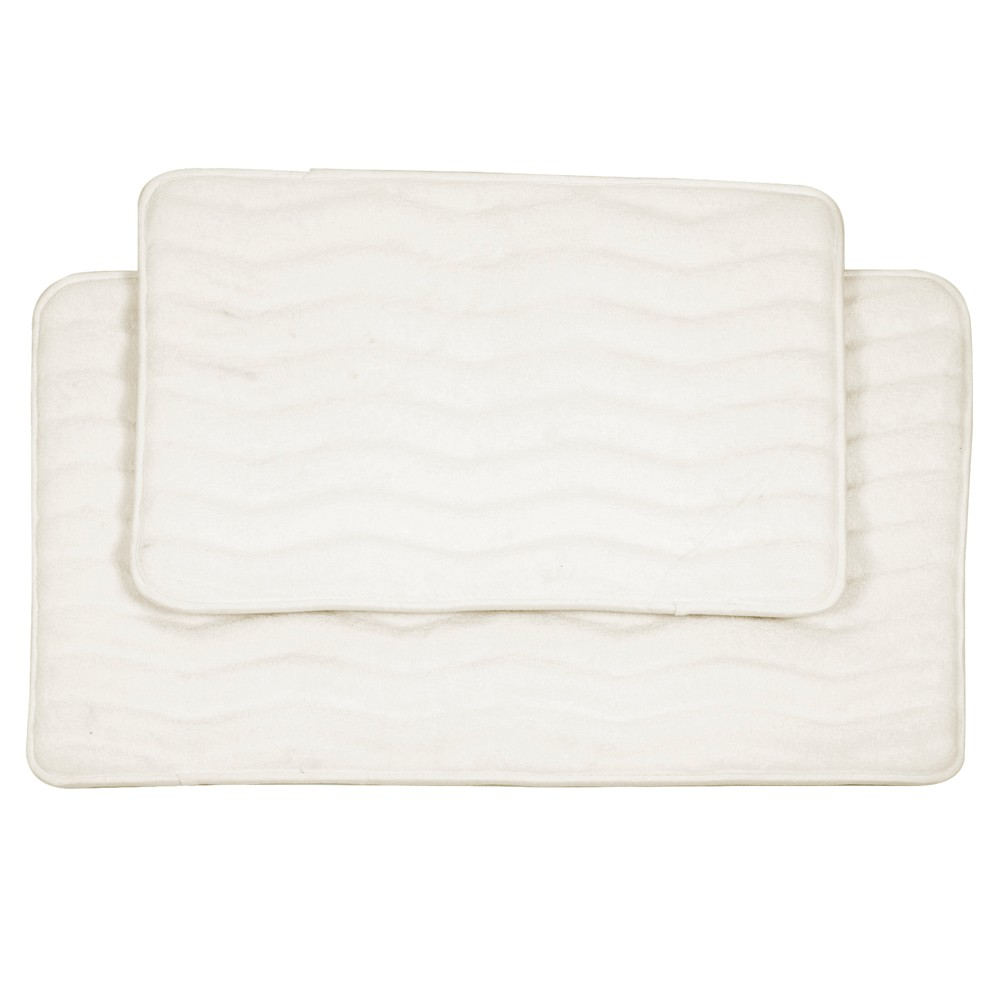 Wave Bath Mat 2pc Off-White - Yorkshire Home, Off White
