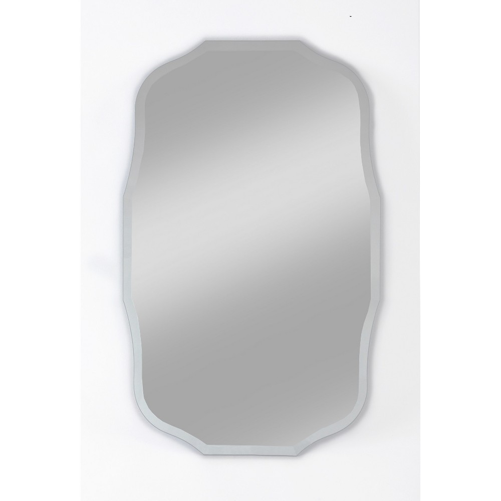 "Image of ""15"""" X 24"""" Madison Frameless Decorative Beveled Glass Wall Mirror - Alpine Art and Mirror, Soft Silver"""