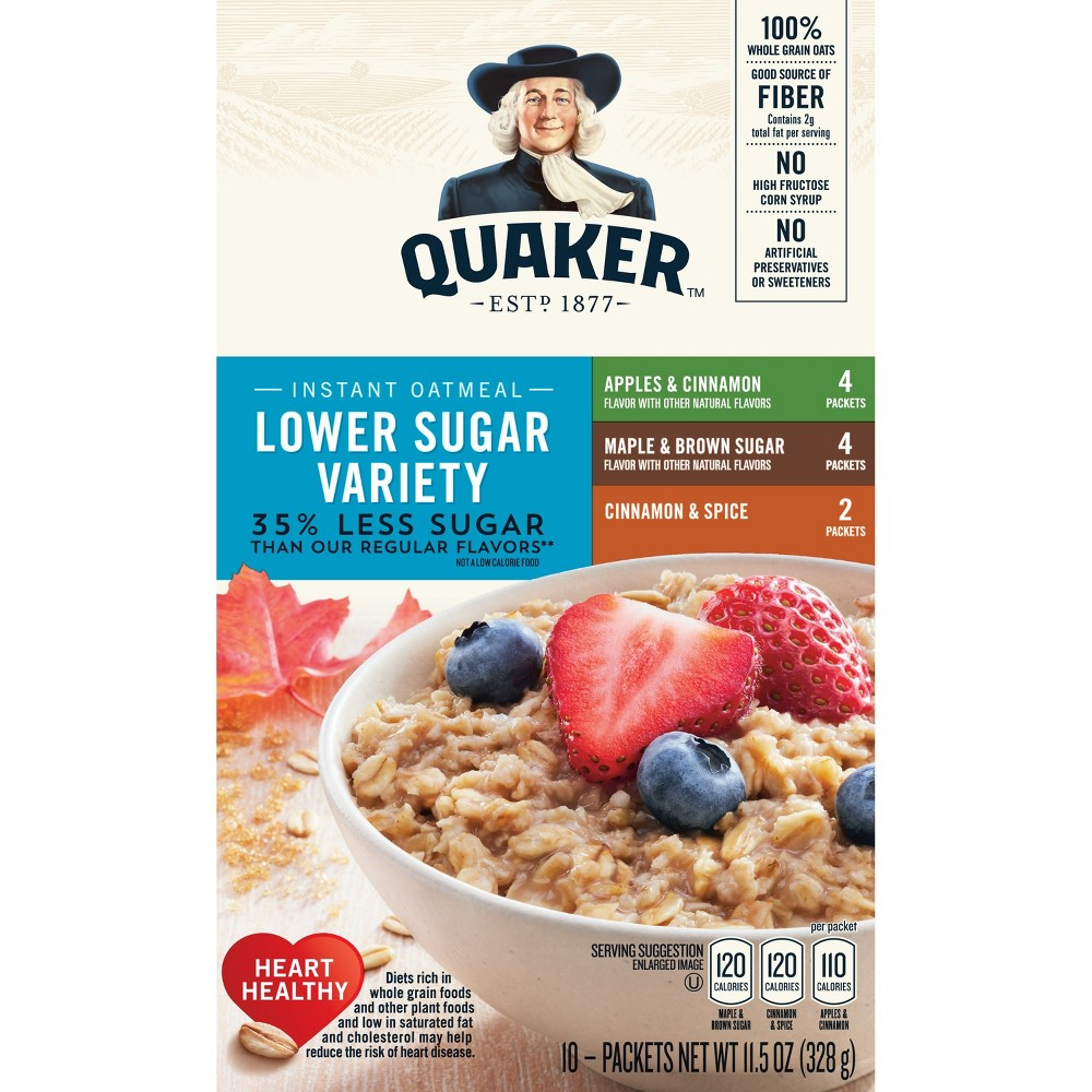 Quaker Instant Oatmeal Lower Sugar Variety Pack - 10ct