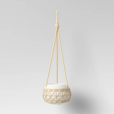 "5.5"" x 7.5"" Rattan Ceramic Hanging Planter White - Opalhouse™"