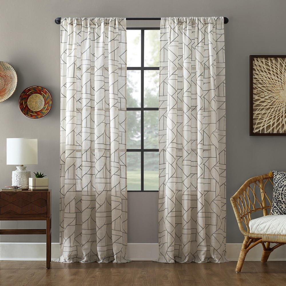 """Image of """"50""""""""x84"""""""" Jigsaw Embroidery Linen Blend Curtain Gray/Linen - Archaeo"""""""