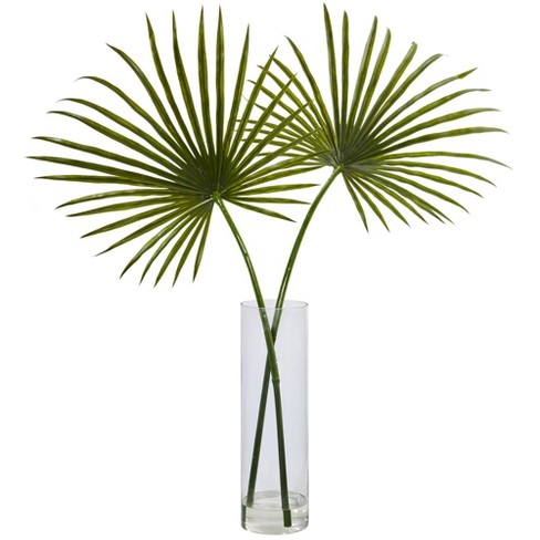 """49"""" x 40"""" Artificial Fan Palm Arrangement in Glass Vase - Nearly Natural - image 1 of 3"""