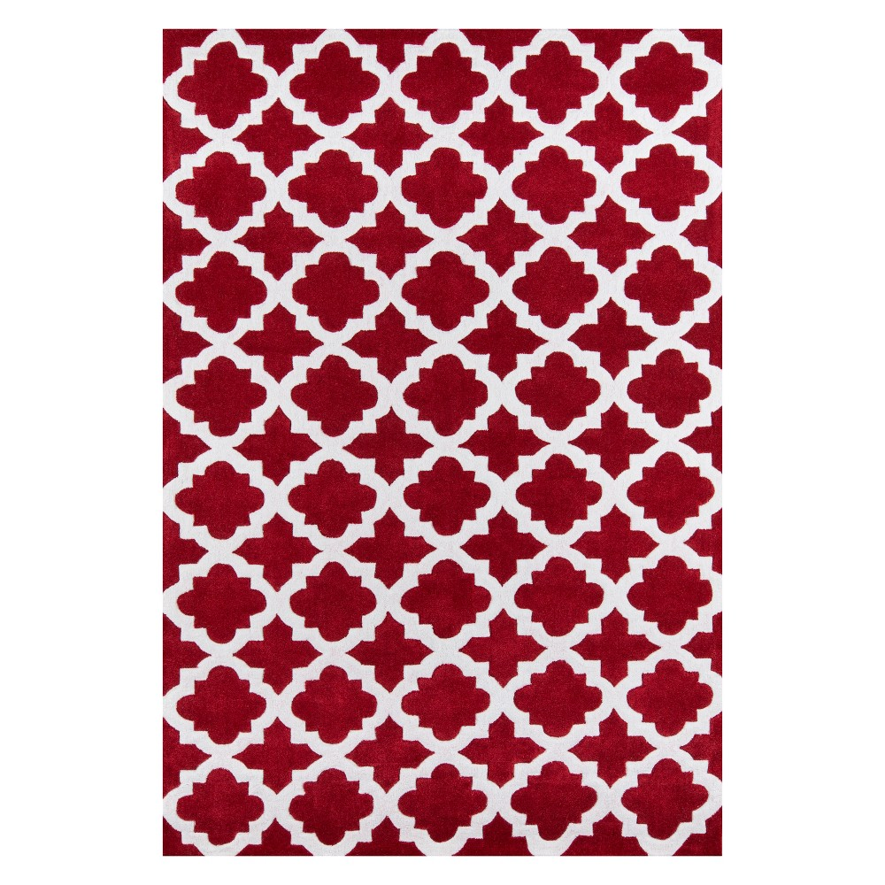 2'X3' Geometric Tufted Accent Rug Red - Momeni