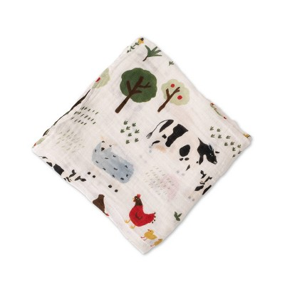 Red Rover Cotton Muslin Single Swaddle - Family Farm