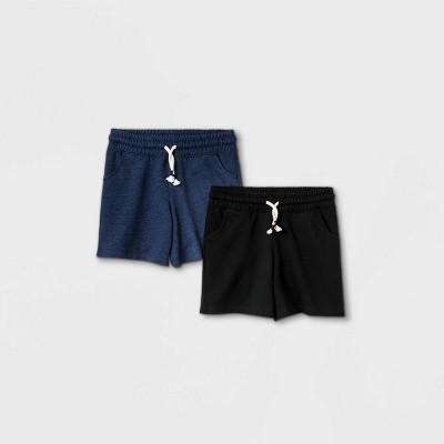 Girls' 2pk Knit Midi Pull-On Shorts - Cat & Jack™ Navy/Black
