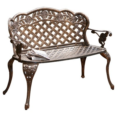 Lucia Cast Aluminum Patio Garden Bench - Brown - Christopher Knight Home
