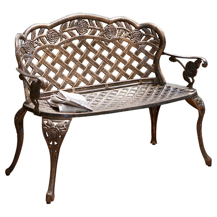 Lucia Cast Aluminum Patio Garden Bench - Brown - Christopher Knight Home - image 1 of 4