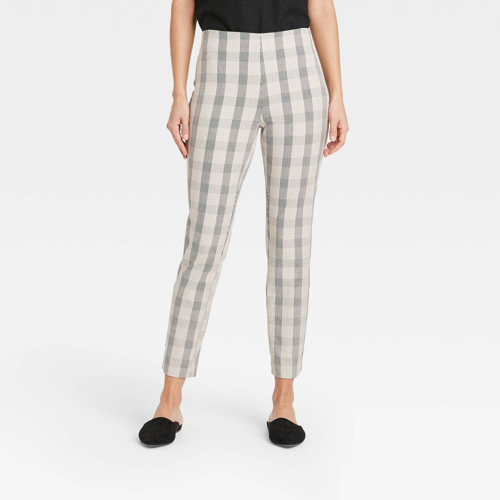 Women 39 S Plaid High Rise Skinny Ankle Pants A New Day 8482 Taupe 10