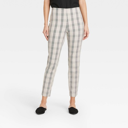 Women's Plaid High-Rise Skinny Ankle Pants - A New Day™ Taupe - image 1 of 3