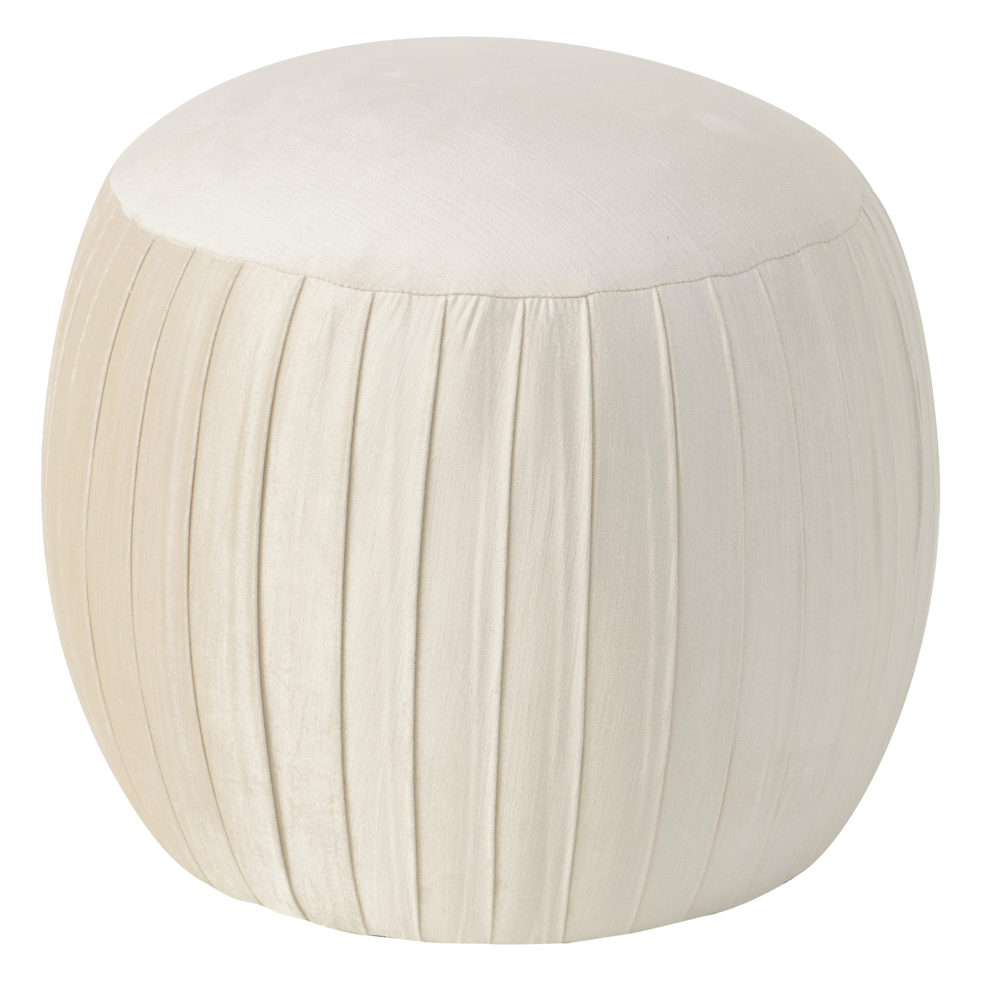 Ember Round Shirred Ottomon Cream Velvet - Skyline Furniture