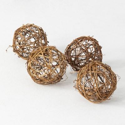 "Sullivans Artificial Set of 4 Vine Balls 3.5""H Brown"