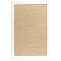 "U-Brands 20"" x 30"" Burlap Bulletin Board - White Wood Frame"