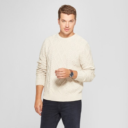 Mens Long Sleeve Cable Crew Pullover Sweater Goodfellow Co