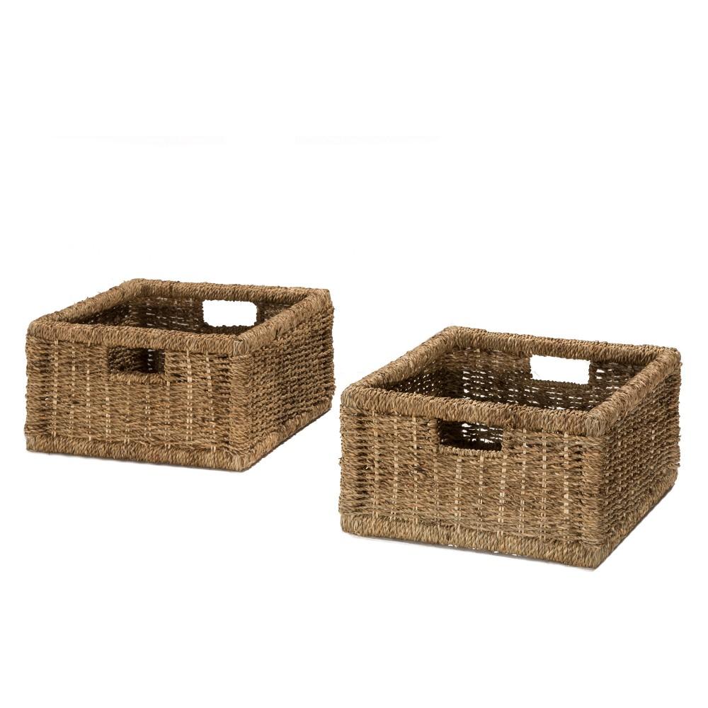 Image of Seneca Basket Set Of Two Natural Seagrass Storage - Hillsdale Furniture, Sagebrush