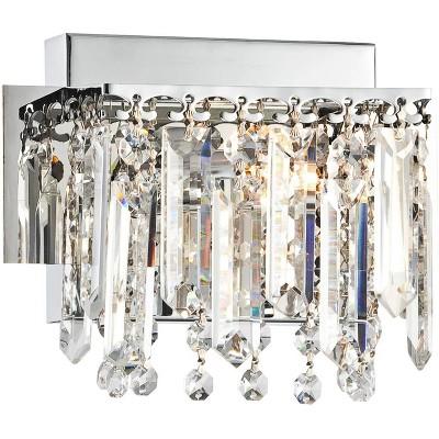 "Possini Euro Design Modern Wall Light Sconce Chrome Hardwired 6"" High Fixture Hanging Crystal for Bedroom Bathroom Hallway"