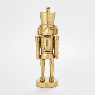 11u0022 x 3.4u0022 Cast Brass Christmas Nutcracker Figurine Gold - Threshold™