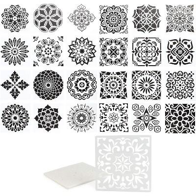 "Bright Creations Mandala Dot Paint Stencils - Reusable DIY Painting Templates (5.9"" x 5.9"", 24 PCS)"