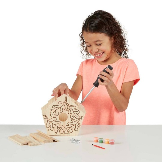Melissa & Doug Build-Your-Own Wooden Birdhouse Craft Kit, Adult Unisex image number null