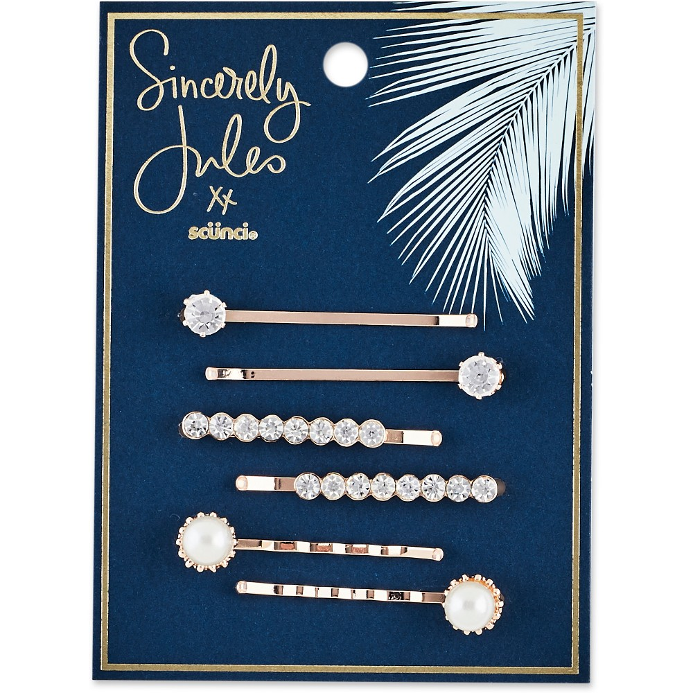 Image of Sincerely Jules by Scünci Crystal And Pearl Bobby Pins -6pk