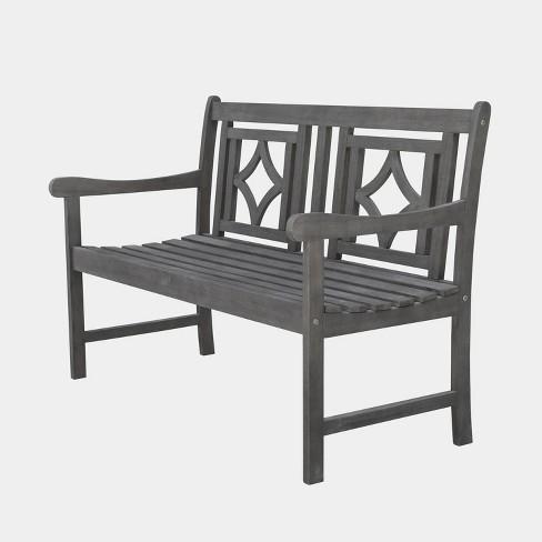 Astonishing Renaissance Hardwood Diamond Outdoor Patio Bench Gray Vifah Ocoug Best Dining Table And Chair Ideas Images Ocougorg